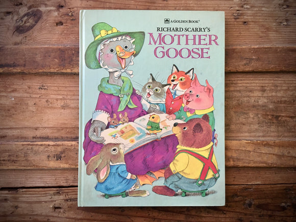 Richard Scarry's Mother Goose, Vintage 1983, Large HC Golden Book