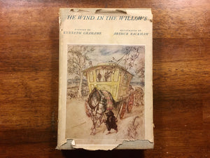 The Wind in the Willows by Kenneth Grahame, Illustrated by Arthur Rackham, Introduction by A.A. Milne, Heritage Illustrated Bookshelf, Vintage 1954, Hardcover Book with Dust Jacket