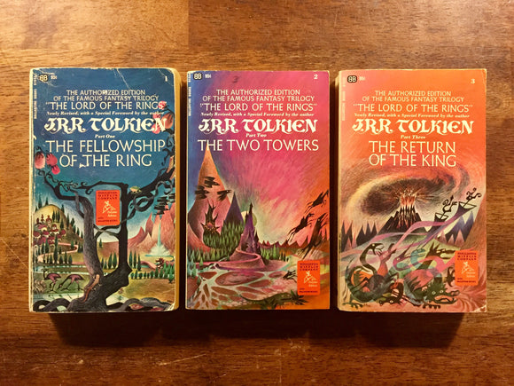 Lord of the Rings Trilogy Set, J.R.R. Tolkien, Vintage 1970s, Paperback, Fantasy