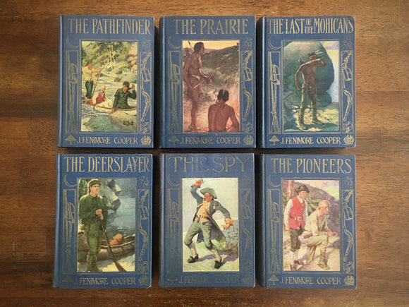 James Fenimore Cooper Novels, Lot of 6 HC Books, Vintage, Illustrated
