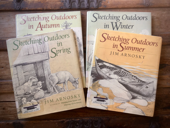 Jim Arnosky Sketching Outdoors Books, Winter Spring Summer Autumn, Nature Art