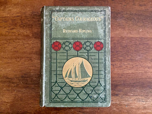 Captains Courageous by Rudyard Kipling, Antique 1897, Hardcover Book, Illustrated