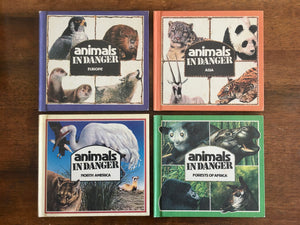 4 Animals in Danger Books, Asia, Europe, Forests of Africa, North America, Vintage 1982