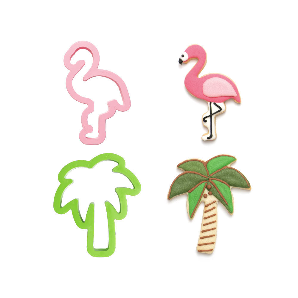 Flamingo and Palm Tree Cutter Set-Decora