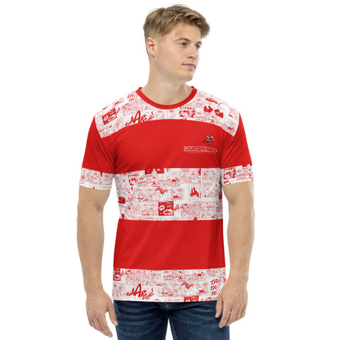 T-shirt souple - Homme : rayé Rouge/Blanc cartoon