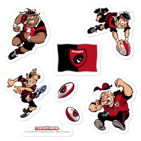 Stickers - Rugbymen 2 - Noir/Rouge