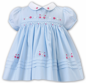 SARAH LOUISE Blue Floral Smocked Baby Dress