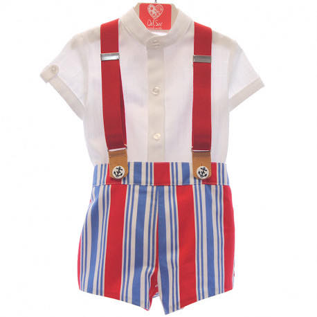 Boys red and blue short set