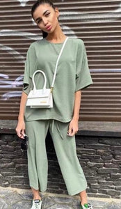 SUMMER LOUNGEWEAR CO ORD SET IN GREEN