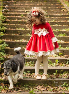 RED puffball dress