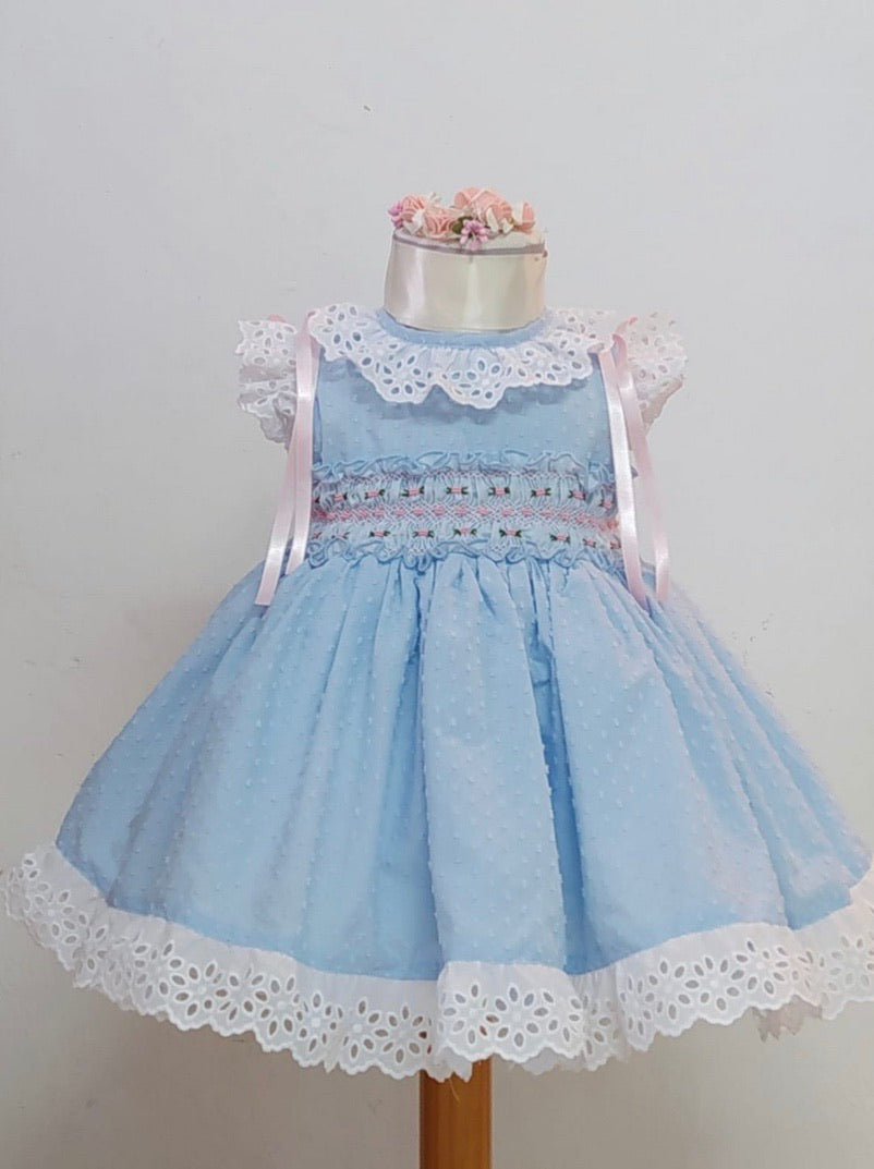 Sonata baby blue pumetti smock dress