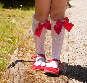 Red bow socks