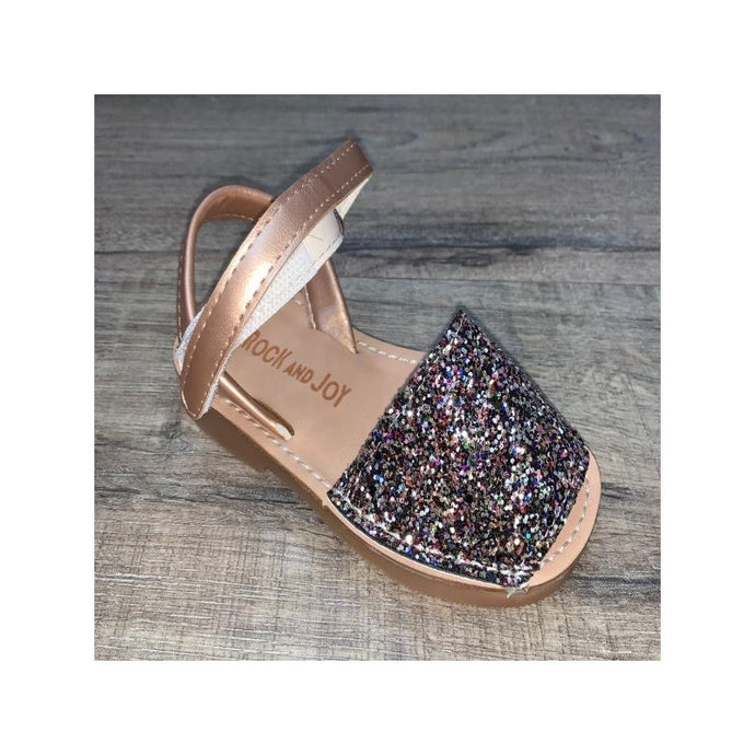 Gold multi coloured glitter sandals