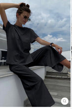 Load image into Gallery viewer, SUMMER LOUNGEWEAR CO ORD SET IN BLACK