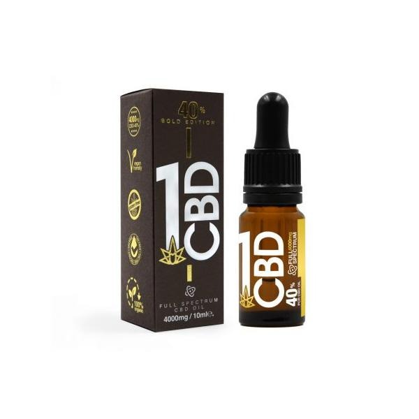 1CBD 40% Pure Hemp 4000mg CBD Oil Gold Edition 10ml - Natural Euphoria