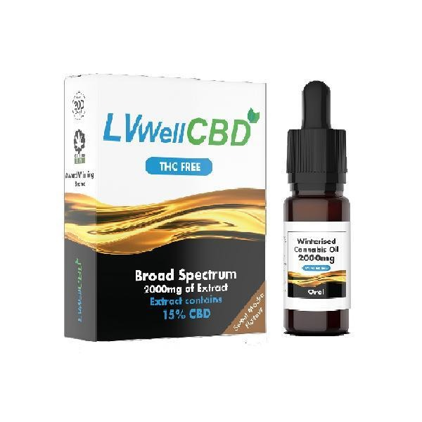 LVWell CBD 2000mg Winterised  10ml Hemp Seed Oil - Natural Euphoria
