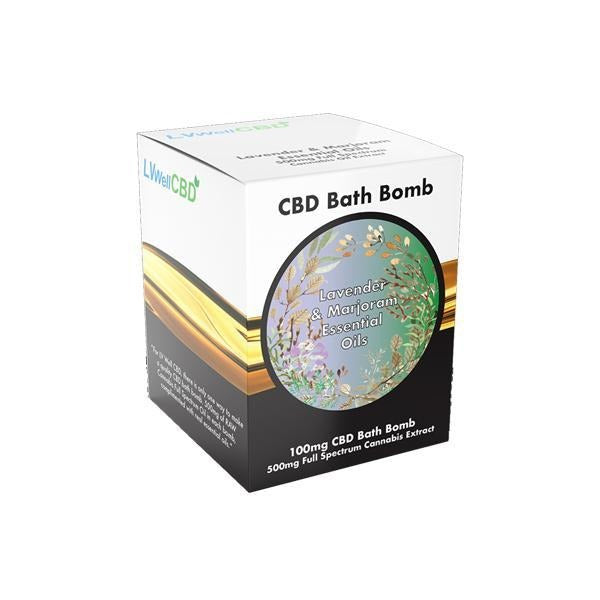 LVWell CBD 100mg CBD Bath Bomb - Lavender and Marjoram - Natural Euphoria