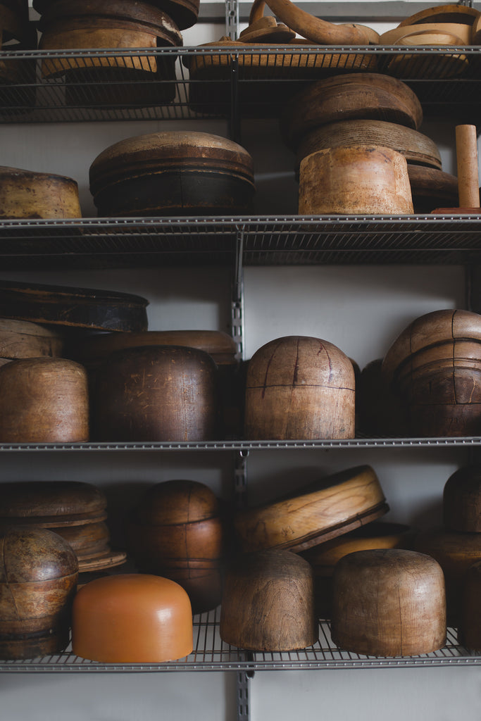 Wooden hat blocks from a millinery studio in Montreal