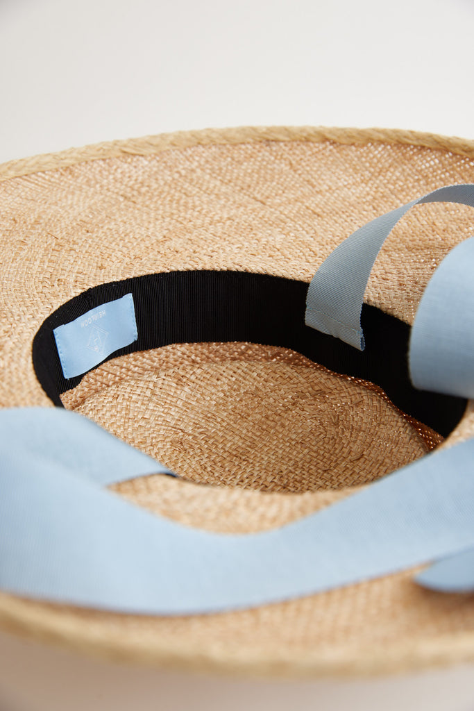 Holy mountain straw hat - Removable ribbon in Blue