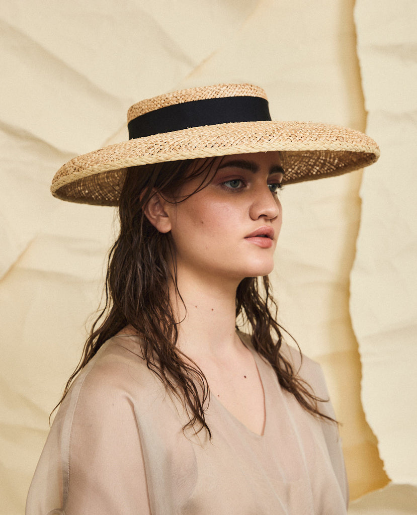 Beaton straw hat - Removable ribbon in black