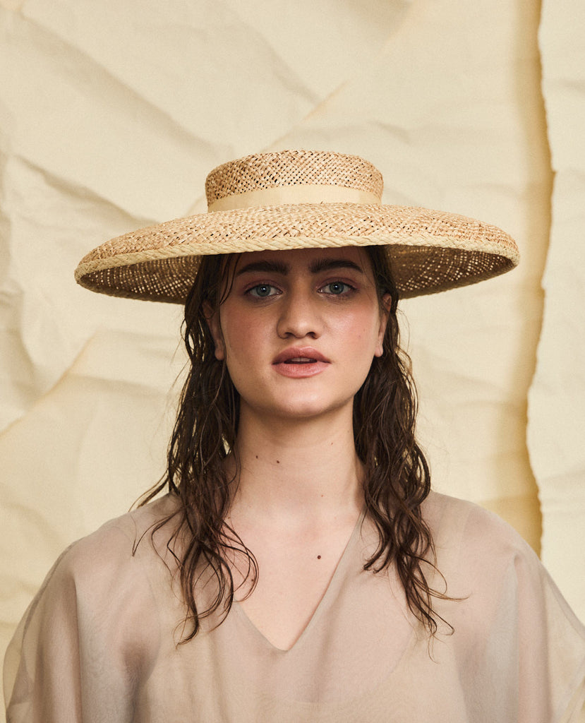 Beaton straw hat - Removable ribbon in wheat