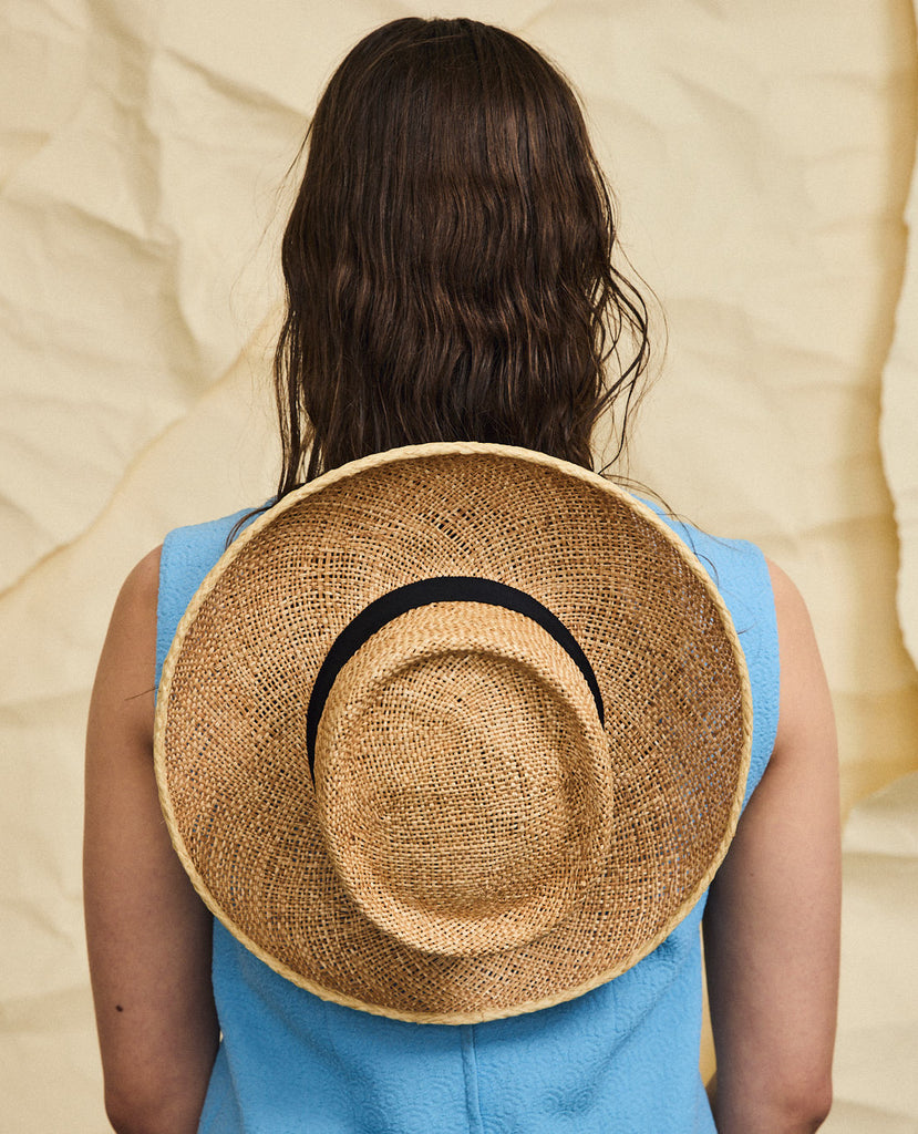 Goldie straw hat - Removable ribbon in Black