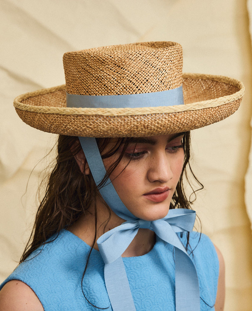 Goldie straw hat - Removable ribbon in Blue