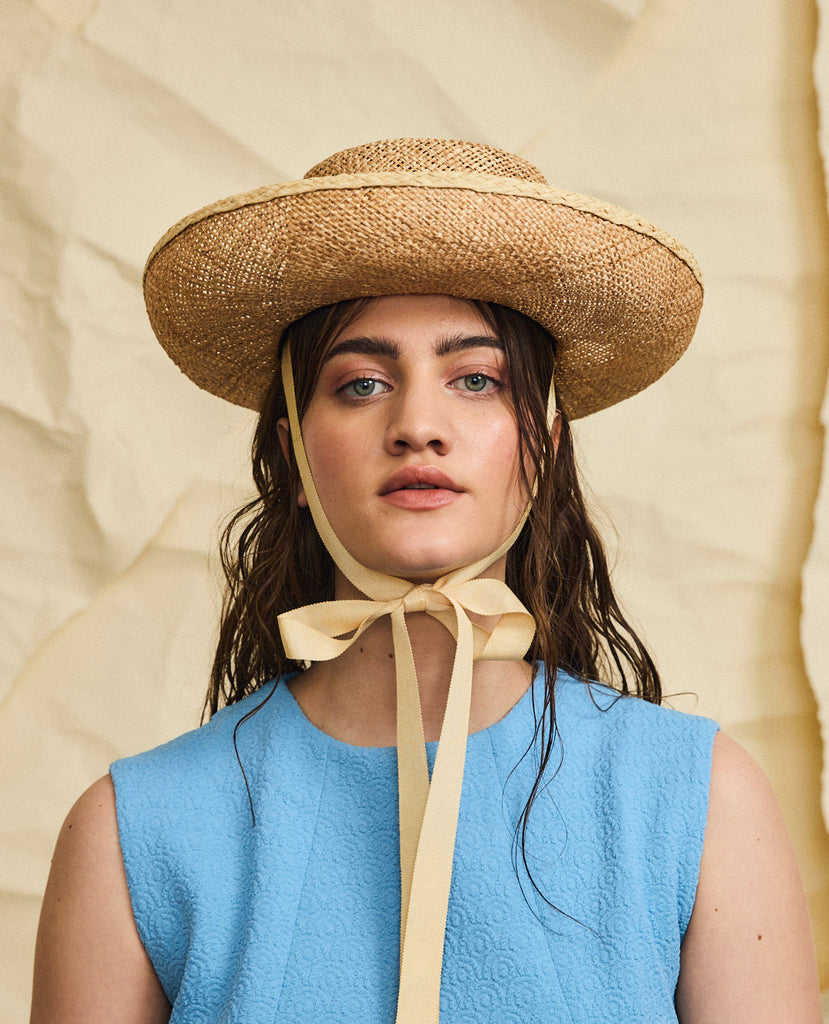 Goldie straw hat - Removable ribbon in Wheat