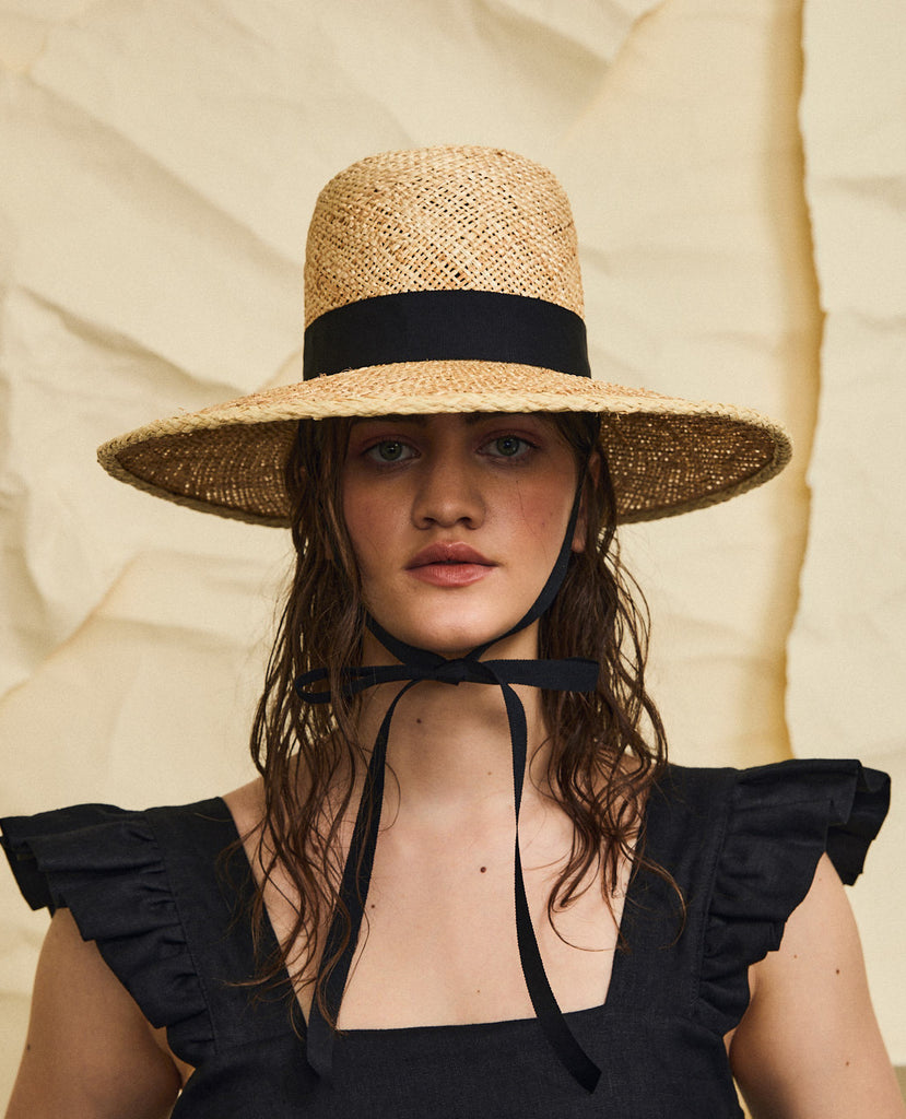 Holy mountain straw hat - Removable ribbon in Black