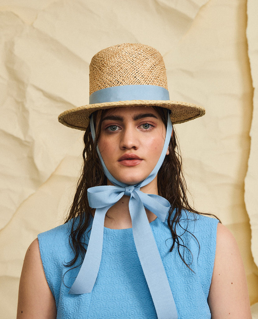 Holy mountain (mini) straw hat - Removable ribbon in Blue