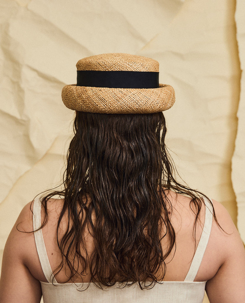 Marshall straw hat - Removable ribbon in Black
