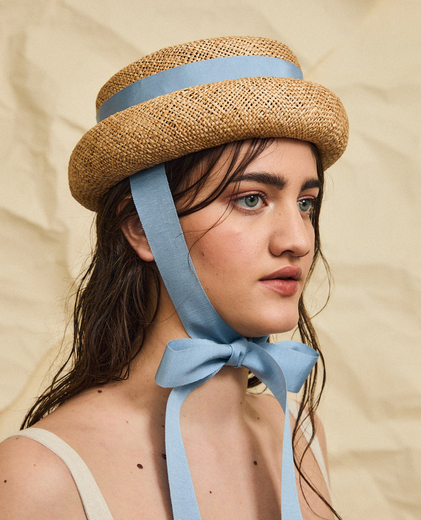Marshall straw hat - Removable ribbon in Blue
