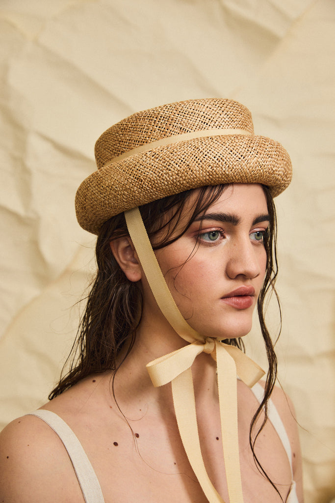 Marshall straw hat - Removable ribbon in Wheat