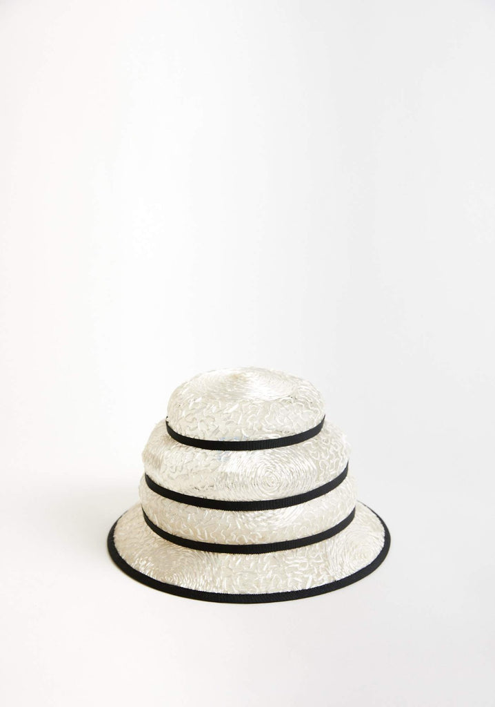 Turrell straw hat mini - Black and white