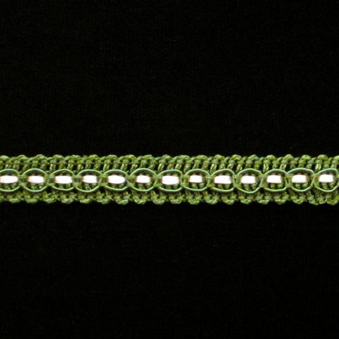 "R005 Forest green/white gimp ⅜"" (10mm) - Palladia Passementerie"