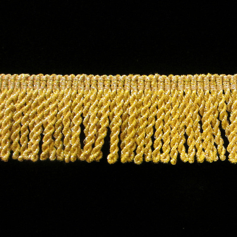 "210.11 Metallic bullion fringe bright yellow gold 1-1/8"" (30mm) - Palladia Passementerie"