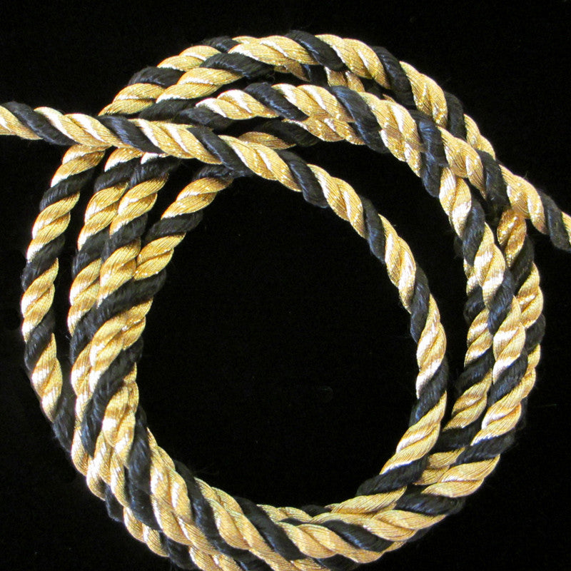 "303.1 Metallic cord gold/black 3/16"" (5mm) - Palladia Passementerie  - 2"