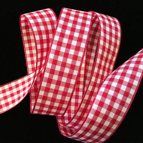 "350.2 Red & white check gingham ribbon trim 7/8"" (22mm)"