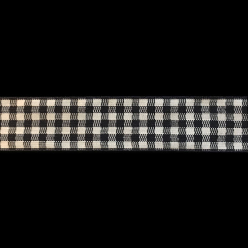 "350 Black & white check gingham ribbon trim 7/8"" (22mm) - Palladia Passementerie  - 2"