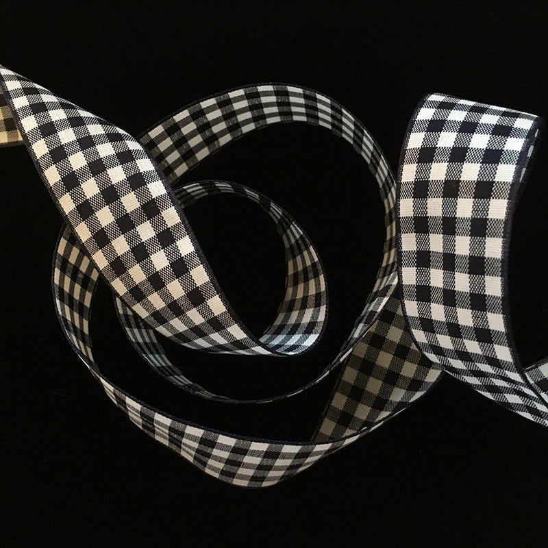 "350 Black & white check gingham ribbon trim 7/8"" (22mm) - Palladia Passementerie  - 1"