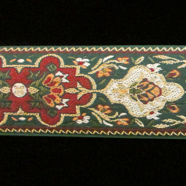 "403.2 Pushkin green wide jacquard trim 1-3/4"" (44mm) - Palladia Passementerie  - 1"