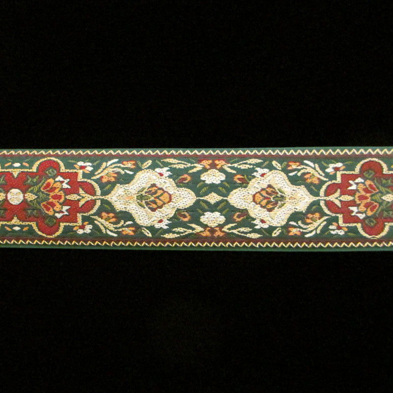 "403.2 Pushkin green wide jacquard trim 1-3/4"" (44mm) - Palladia Passementerie  - 2"