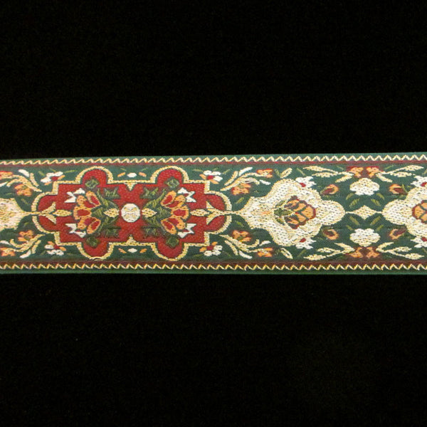 403.1 Pushkin green narrow jacquard trim 1-3/16 (30mm) - Palladia Passementerie