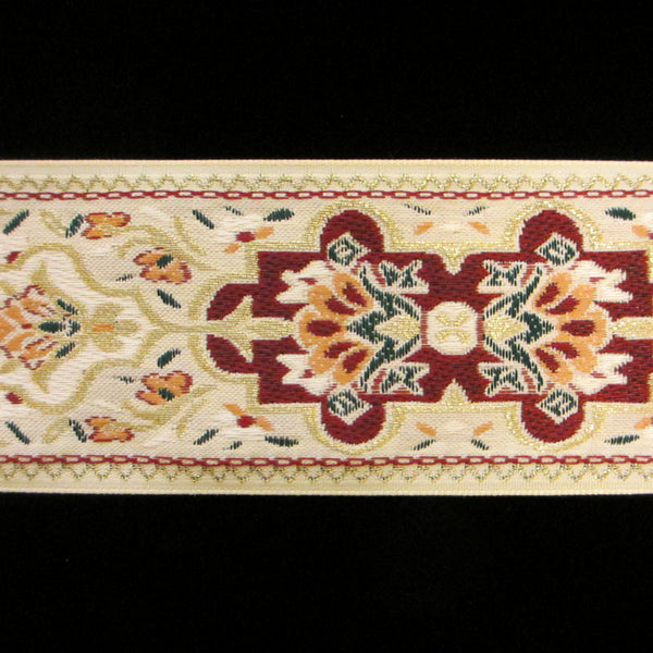 "418.2 Pushkin cream wide jacquard trim 1-3/4"" (44mm) - Palladia Passementerie  - 1"