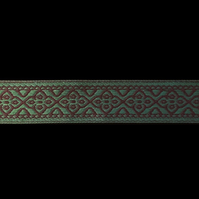 "436.3 Faroe jacquard trim green and black 7/8"" (22mm)"