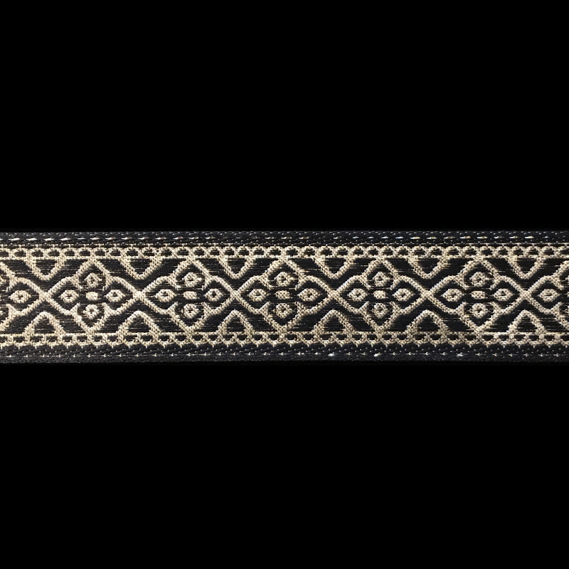 "436.4 Faroe jacquard trim black and gold 7/8"" (22mm)"