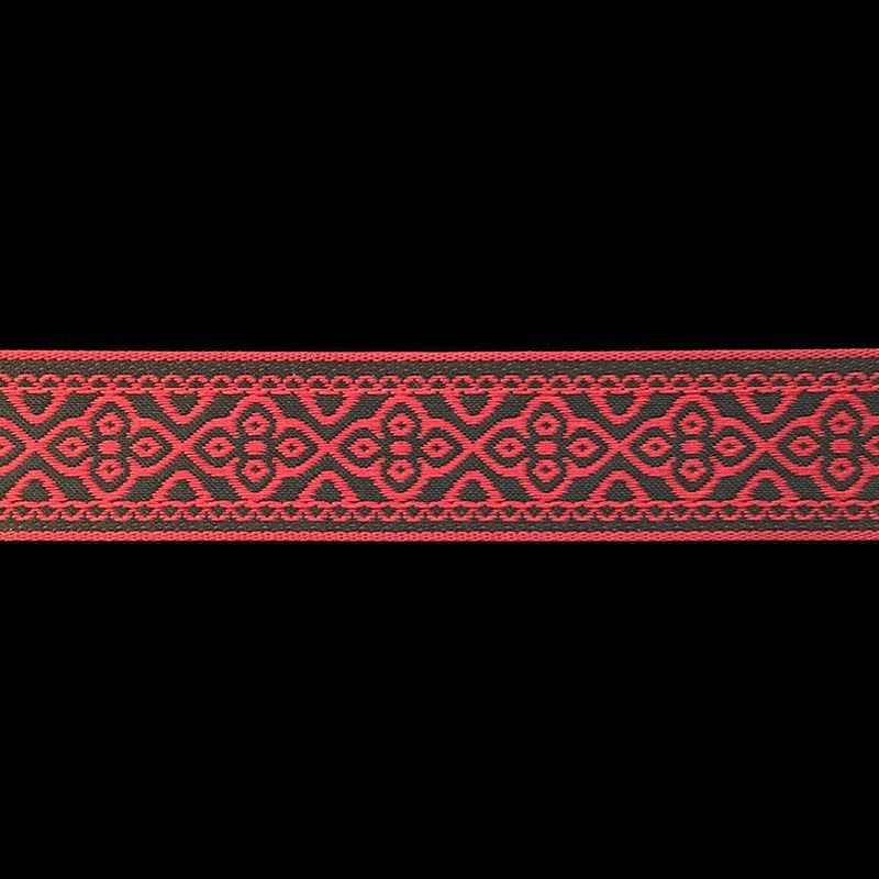 "436 Faroe jacquard trim red and black 7/8"" (22mm) - Palladia Passementerie  - 2"