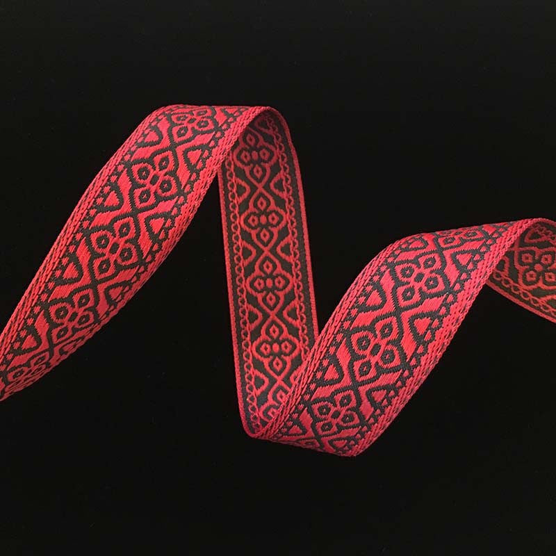 "436 Faroe jacquard trim red and black 7/8"" (22mm) - Palladia Passementerie  - 1"