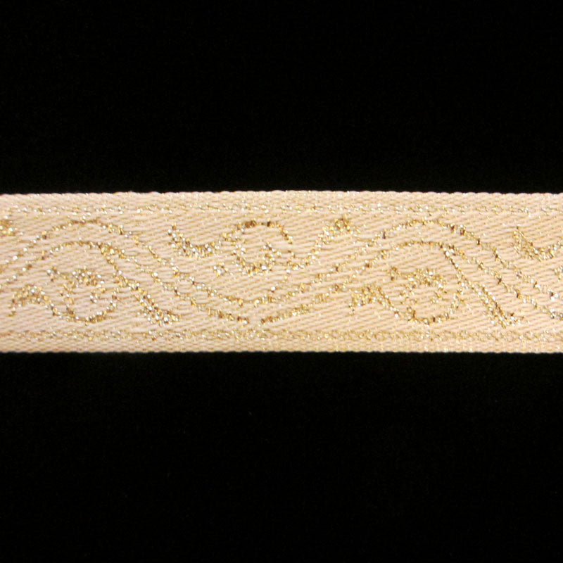 "441 Gold scroll jacquard trim 3/4"" (19mm) - Palladia Passementerie"