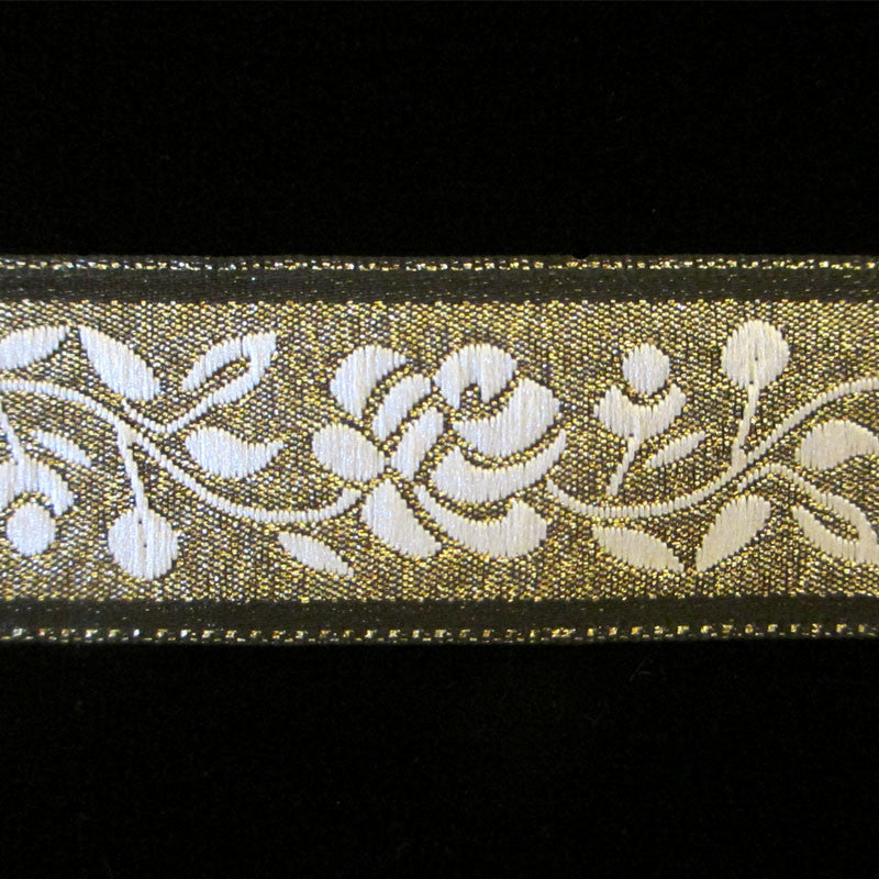 "444 White rose jacquard trim 1"" (25mm) - Palladia Passementerie  - 1"